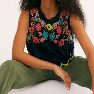 Free People Gardenia Embroidered Blouse Tank XS